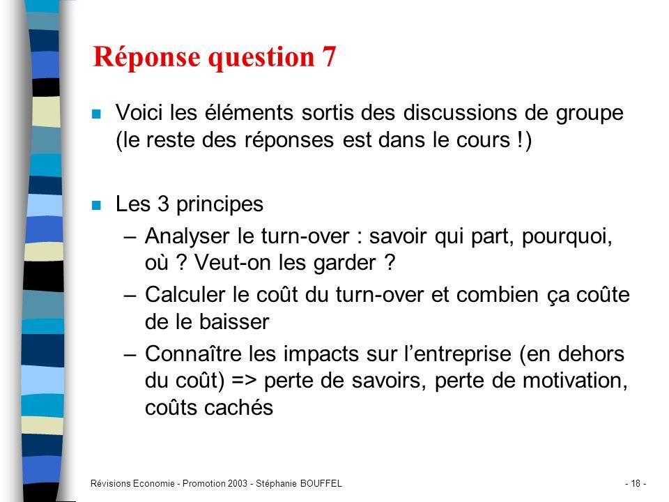 Réponse question 7 Voici les éléments sortis des discussions de groupe (le reste des réponses est dans le cours !)