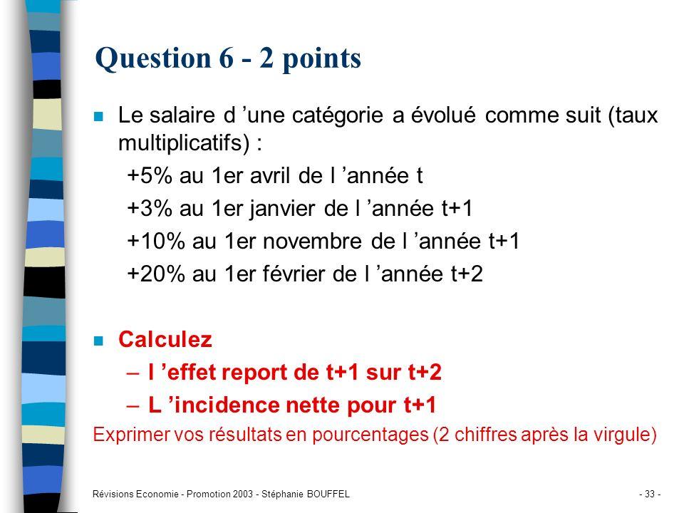 Question 6 - 2 points Le salaire d 'une catégorie a évolué comme suit (taux multiplicatifs) : +5% au 1er avril de l 'année t.