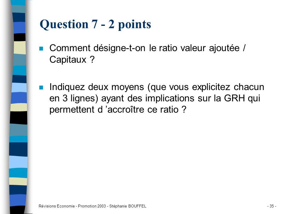 Question 7 - 2 points Comment désigne-t-on le ratio valeur ajoutée / Capitaux