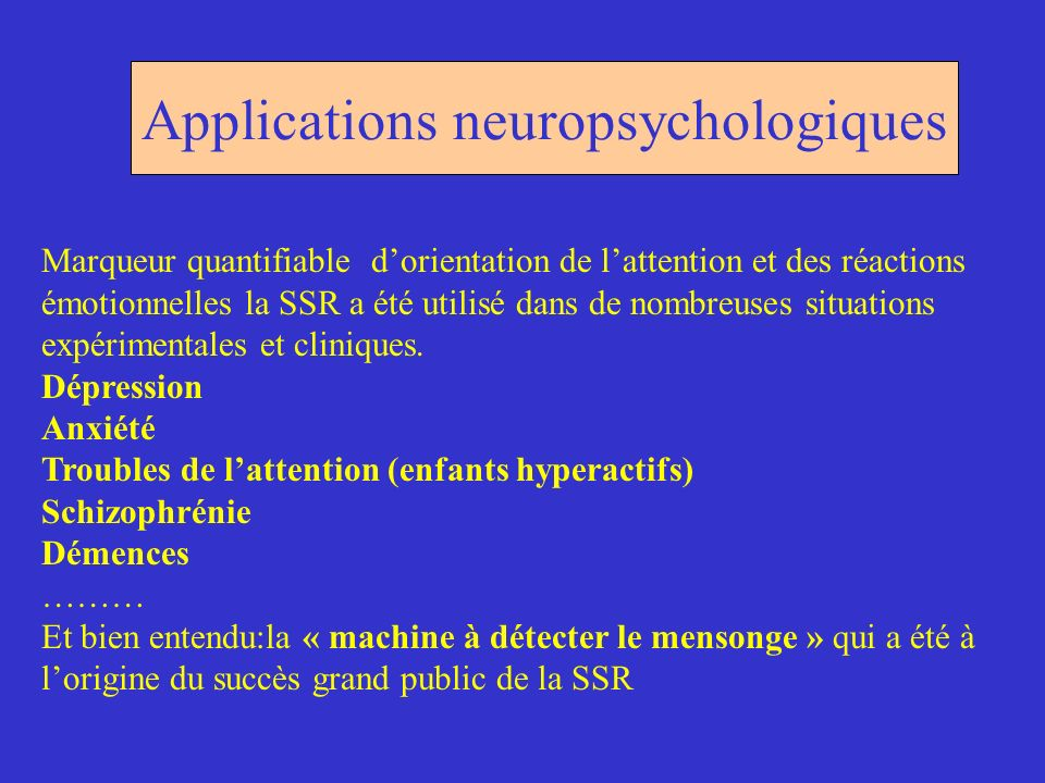 Applications neuropsychologiques