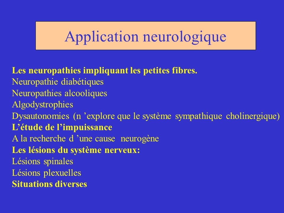 Application neurologique