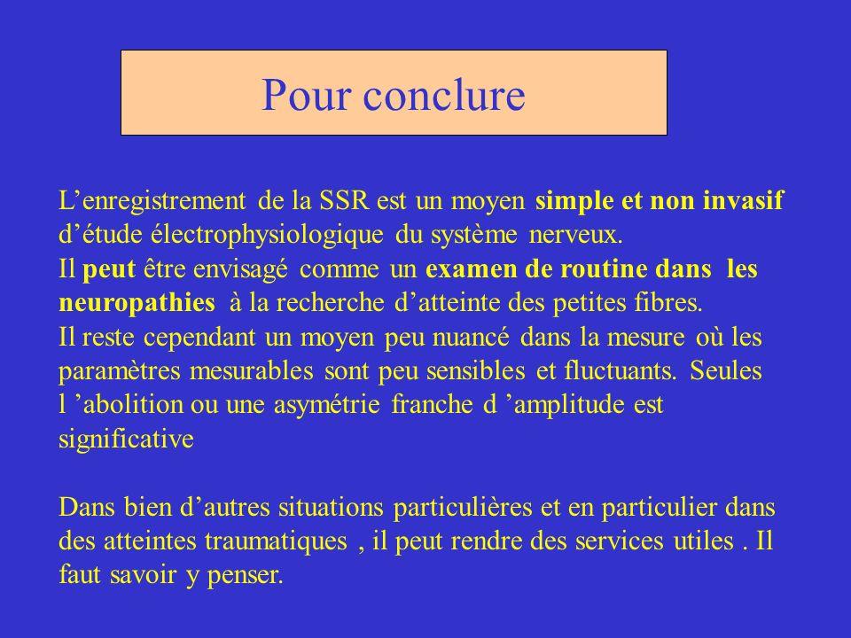 Pour conclure L'enregistrement de la SSR est un moyen simple et non invasif. d'étude électrophysiologique du système nerveux.
