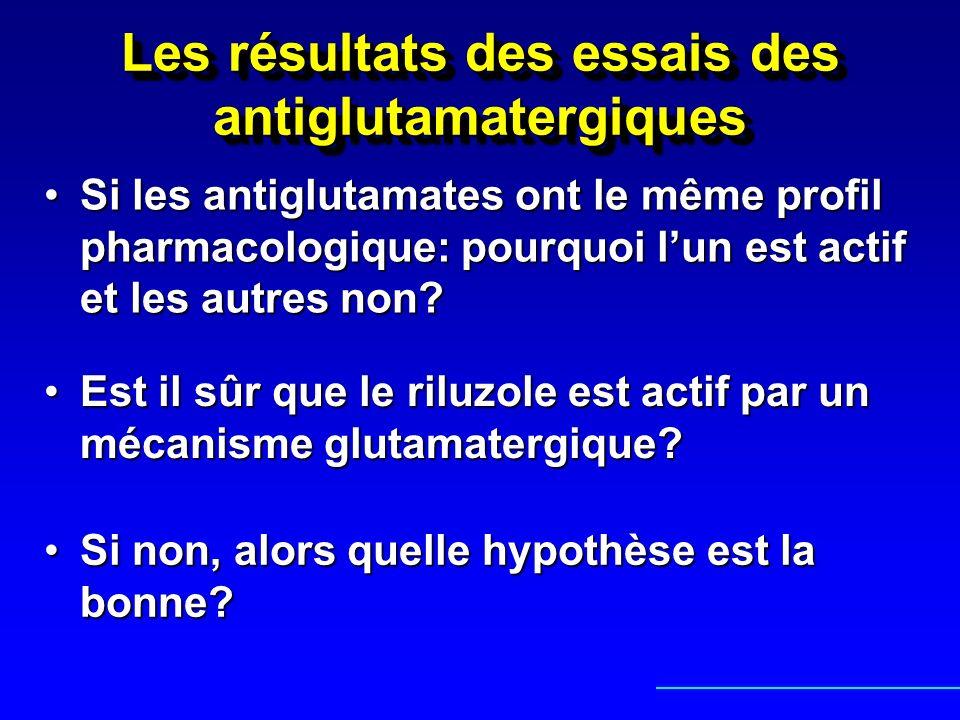 Les résultats des essais des antiglutamatergiques