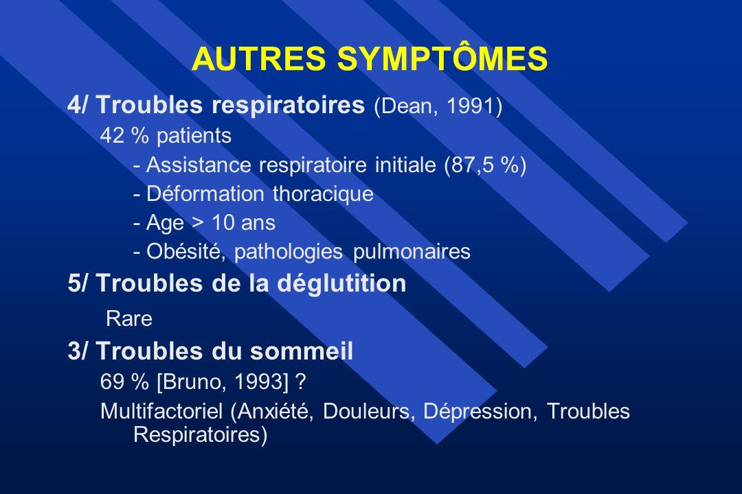 AUTRES SYMPTÔMES 4/ Troubles respiratoires (Dean, 1991)
