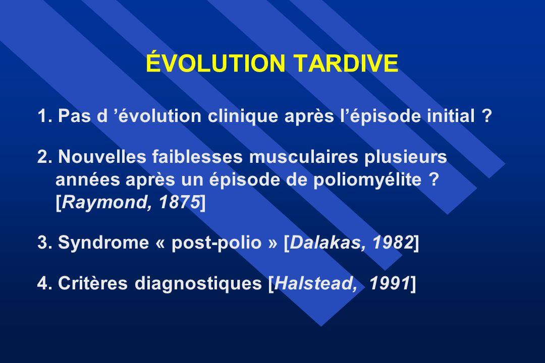 ÉVOLUTION TARDIVE 1. Pas d 'évolution clinique après l'épisode initial