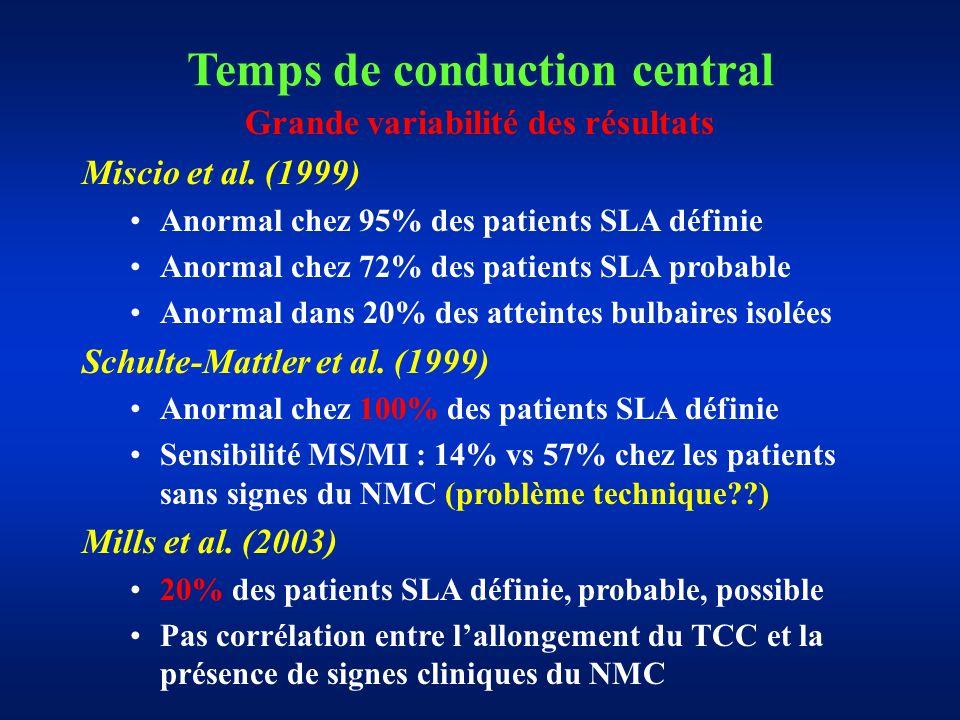 Temps de conduction central Grande variabilité des résultats