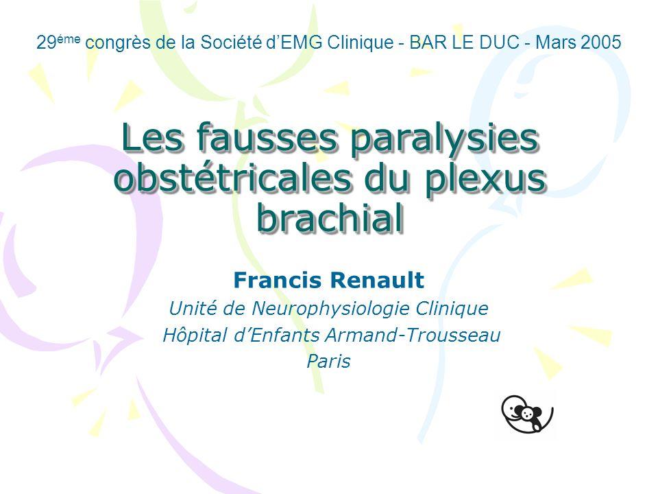 Les fausses paralysies obstétricales du plexus brachial