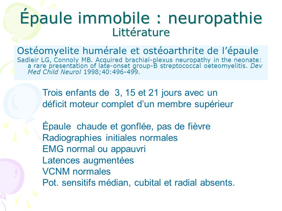 Épaule immobile : neuropathie Littérature