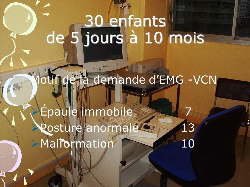 30 enfants de 5 jours à 10 mois Motif de la demande d'EMG -VCN