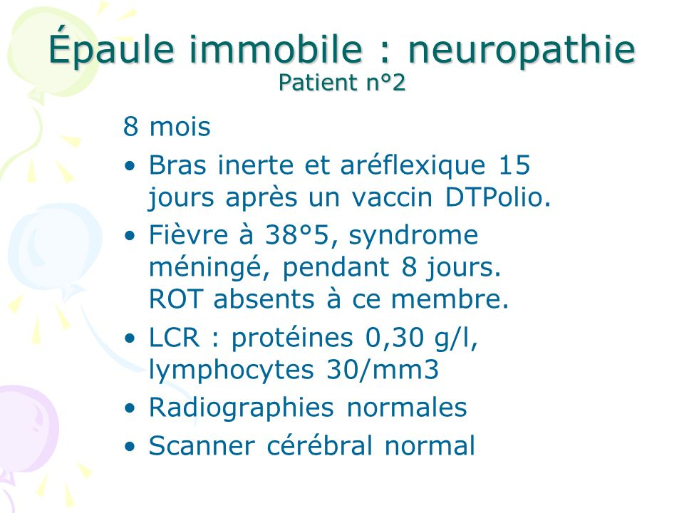 Épaule immobile : neuropathie Patient n°2
