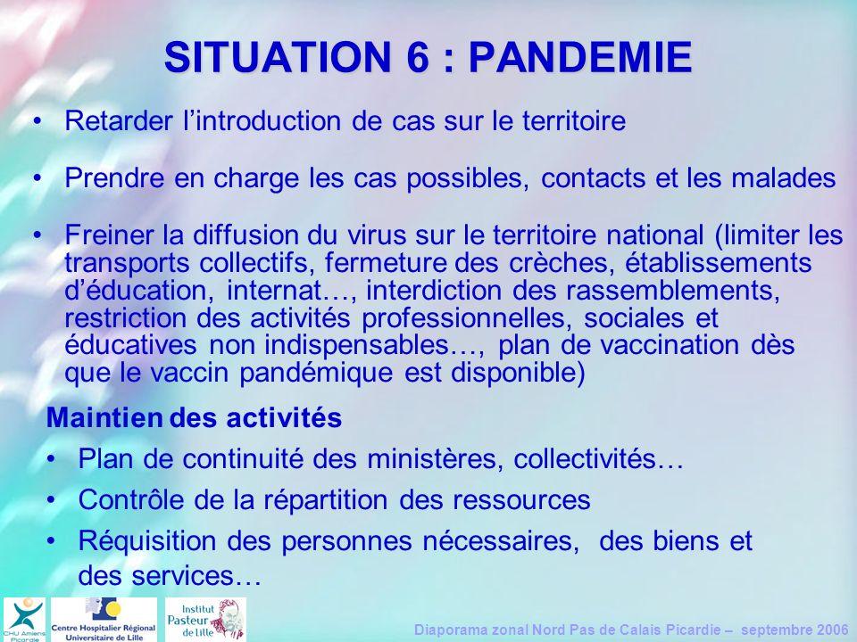 SITUATION 6 : PANDEMIE Retarder l'introduction de cas sur le territoire. Prendre en charge les cas possibles, contacts et les malades.