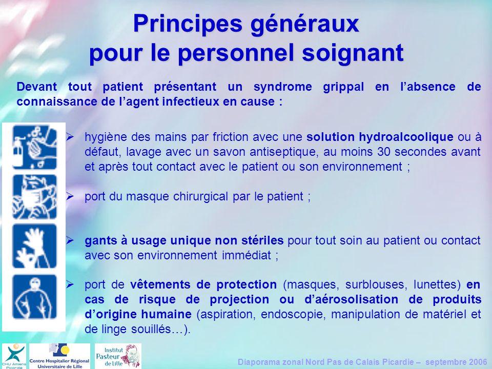 Principes généraux pour le personnel soignant
