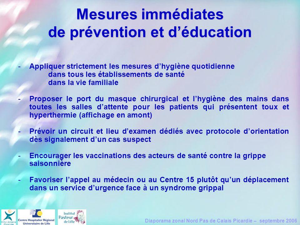 Mesures immédiates de prévention et d'éducation