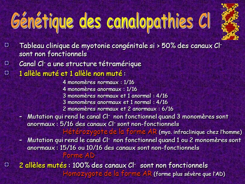 Génétique des canalopathies Cl