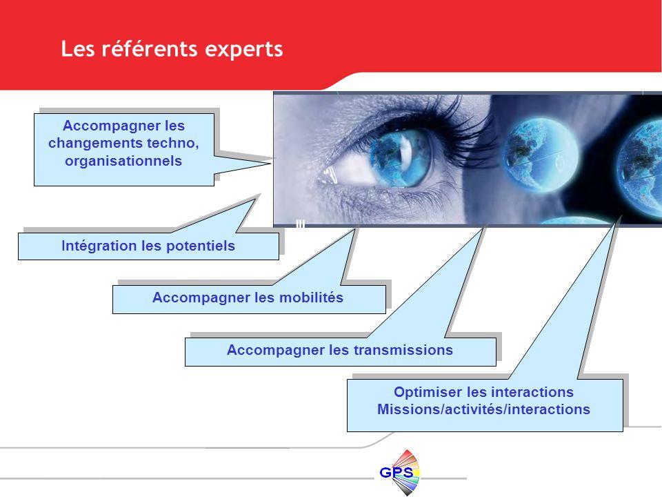 Les référents experts Accompagner les changements techno, organisationnels. Intégration les potentiels.