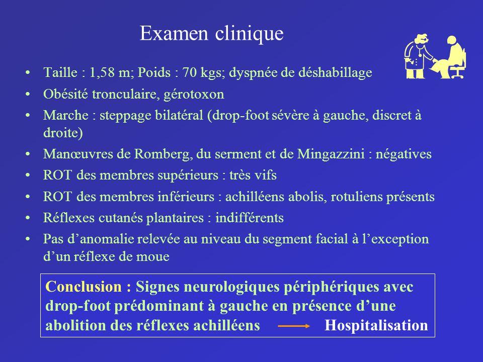 Examen clinique Taille : 1,58 m; Poids : 70 kgs; dyspnée de déshabillage. Obésité tronculaire, gérotoxon.
