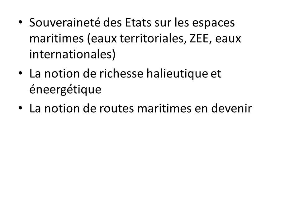 Souveraineté des Etats sur les espaces maritimes (eaux territoriales, ZEE, eaux internationales)