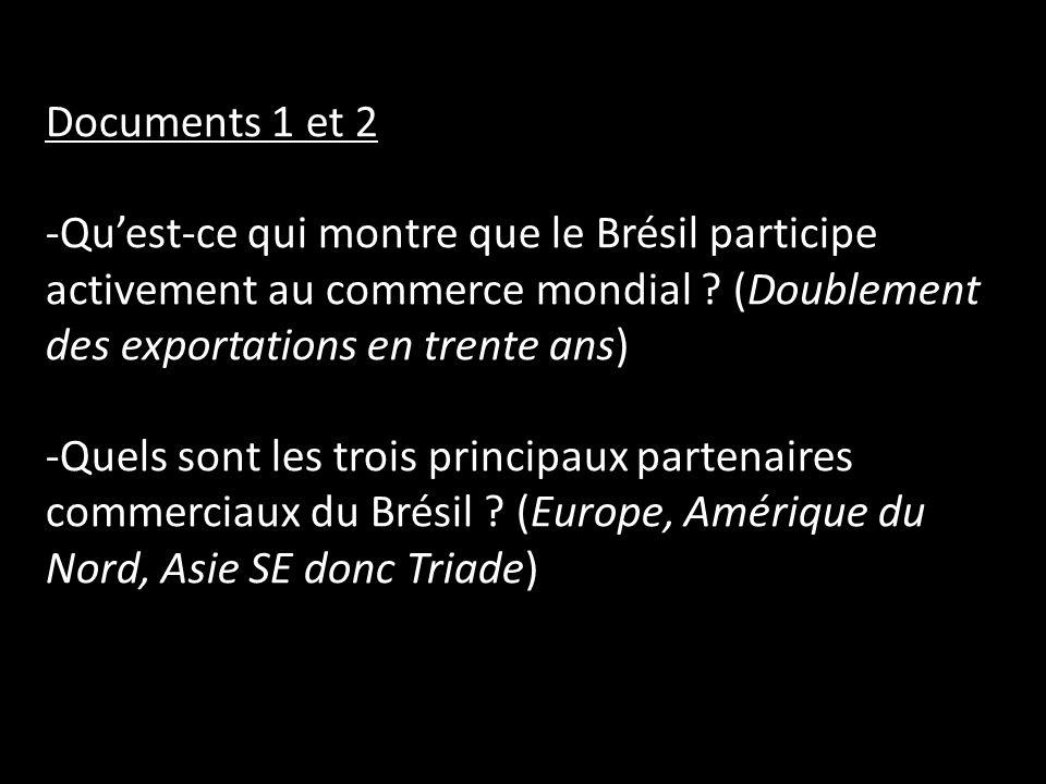 Documents 1 et 2 Qu'est-ce qui montre que le Brésil participe activement au commerce mondial (Doublement des exportations en trente ans)