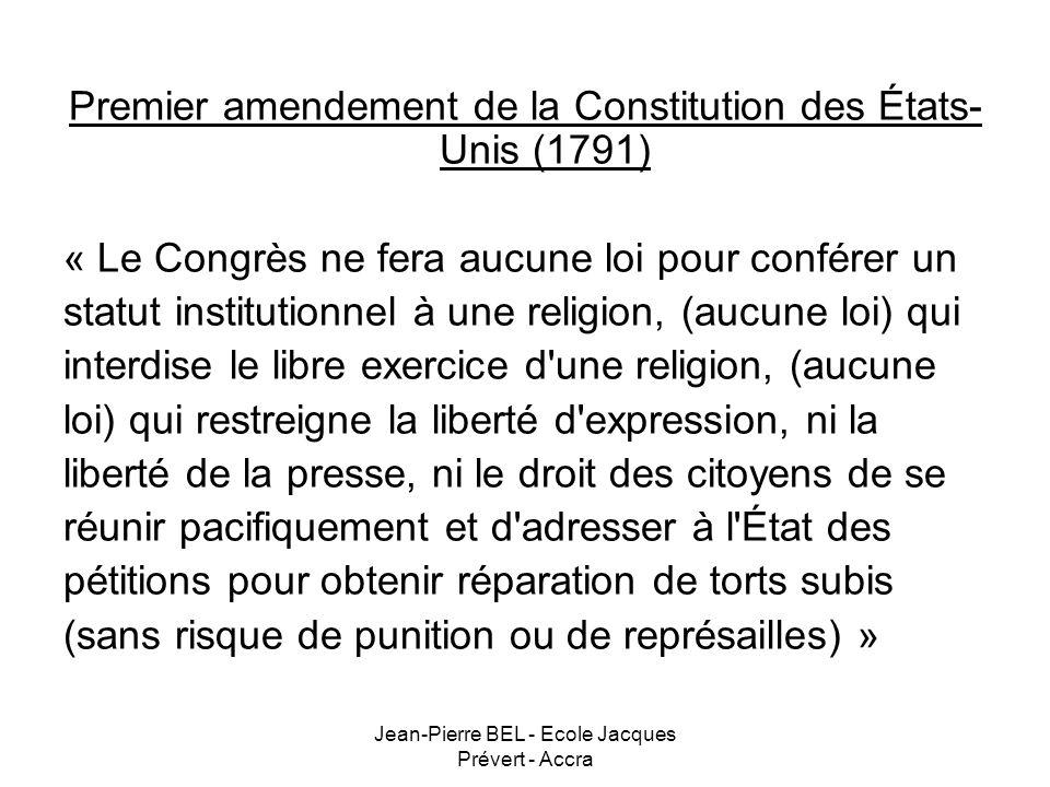 Premier amendement de la Constitution des États-Unis (1791)