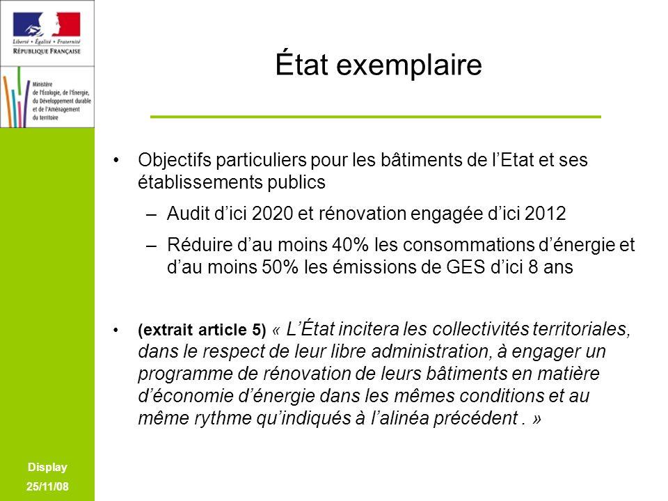 État exemplaire Objectifs particuliers pour les bâtiments de l'Etat et ses établissements publics. Audit d'ici 2020 et rénovation engagée d'ici 2012.
