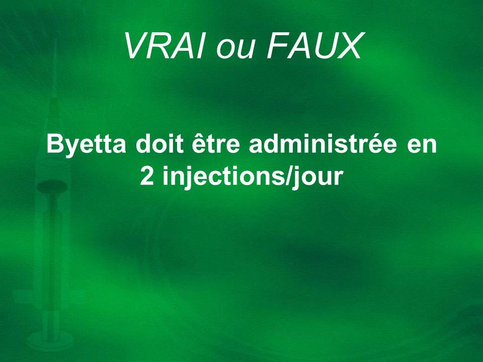 Byetta doit être administrée en 2 injections/jour