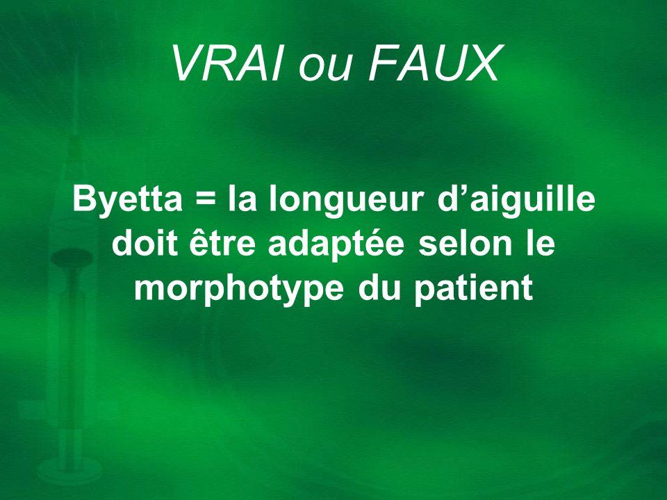 VRAI ou FAUX Byetta = la longueur d'aiguille doit être adaptée selon le morphotype du patient