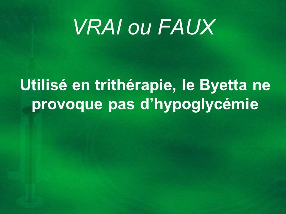 Utilisé en trithérapie, le Byetta ne provoque pas d'hypoglycémie