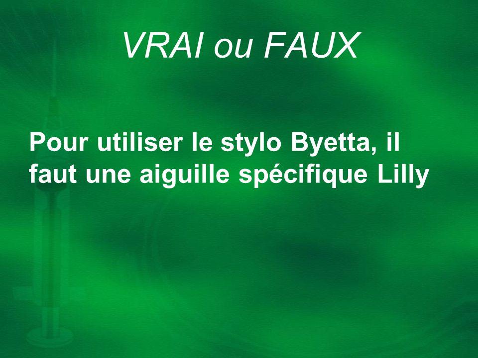 VRAI ou FAUX Pour utiliser le stylo Byetta, il faut une aiguille spécifique Lilly