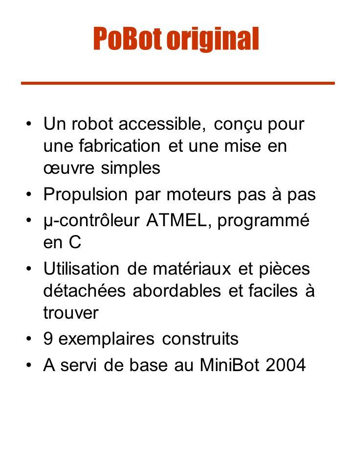 PoBot original Un robot accessible, conçu pour une fabrication et une mise en œuvre simples. Propulsion par moteurs pas à pas.