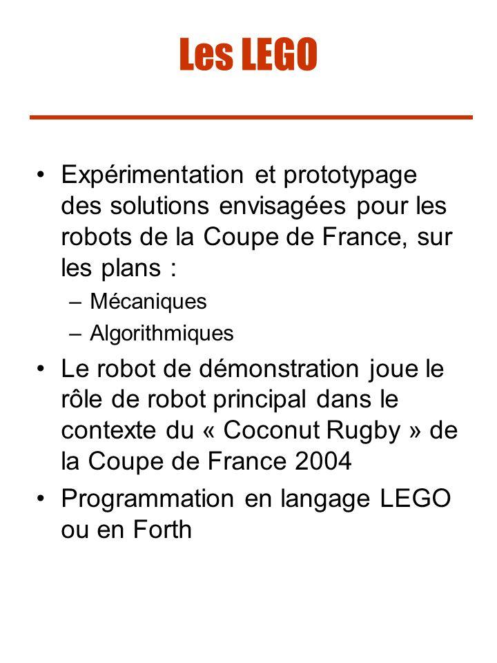 Les LEGO Expérimentation et prototypage des solutions envisagées pour les robots de la Coupe de France, sur les plans :