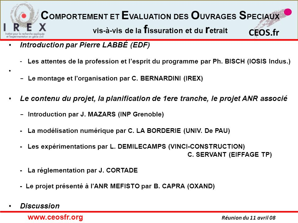 Introduction par Pierre LABBÉ (EDF) - Les attentes de la profession et l'esprit du programme par Ph. BISCH (IOSIS Indus.)
