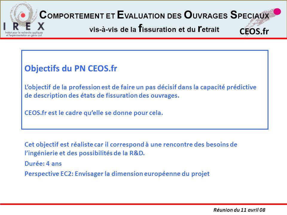 Objectifs du PN CEOS.fr L'objectif de la profession est de faire un pas décisif dans la capacité prédictive de description des états de fissuration des ouvrages. CEOS.fr est le cadre qu'elle se donne pour cela.