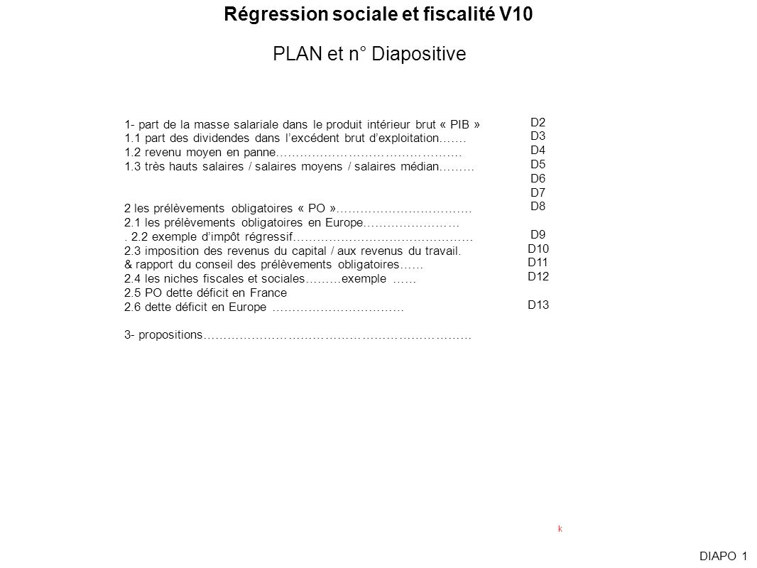 Régression sociale et fiscalité V10