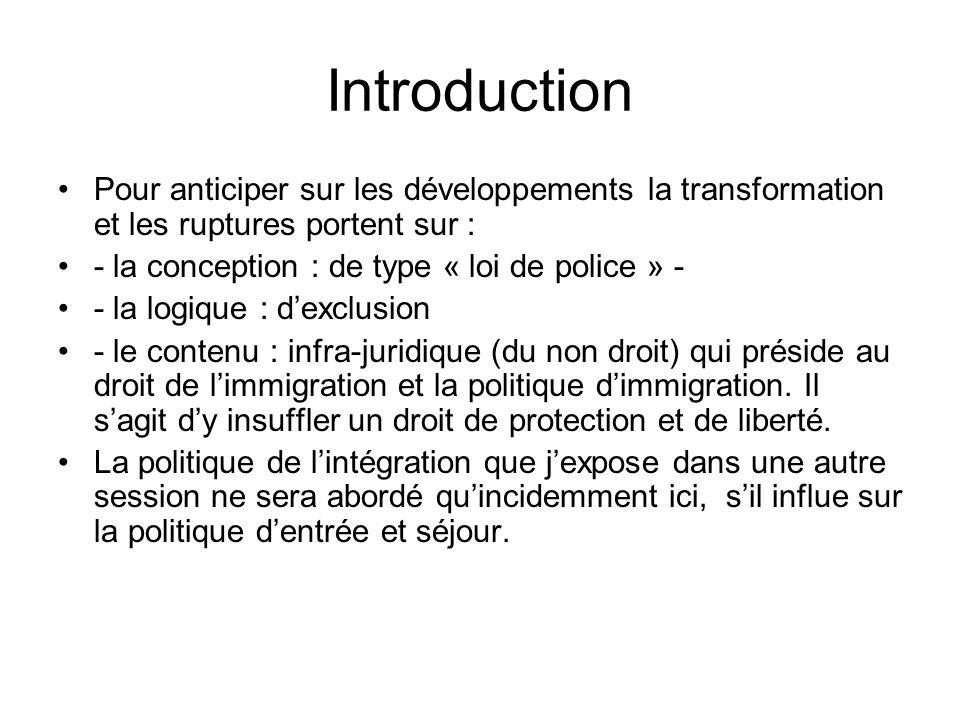 IntroductionPour anticiper sur les développements la transformation et les ruptures portent sur : - la conception : de type « loi de police » -