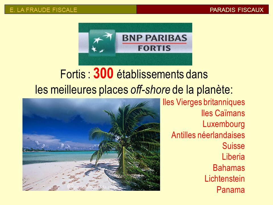 E. LA FRAUDE FISCALE PARADIS FISCAUX. Fortis : 300 établissements dans les meilleures places off-shore de la planète: