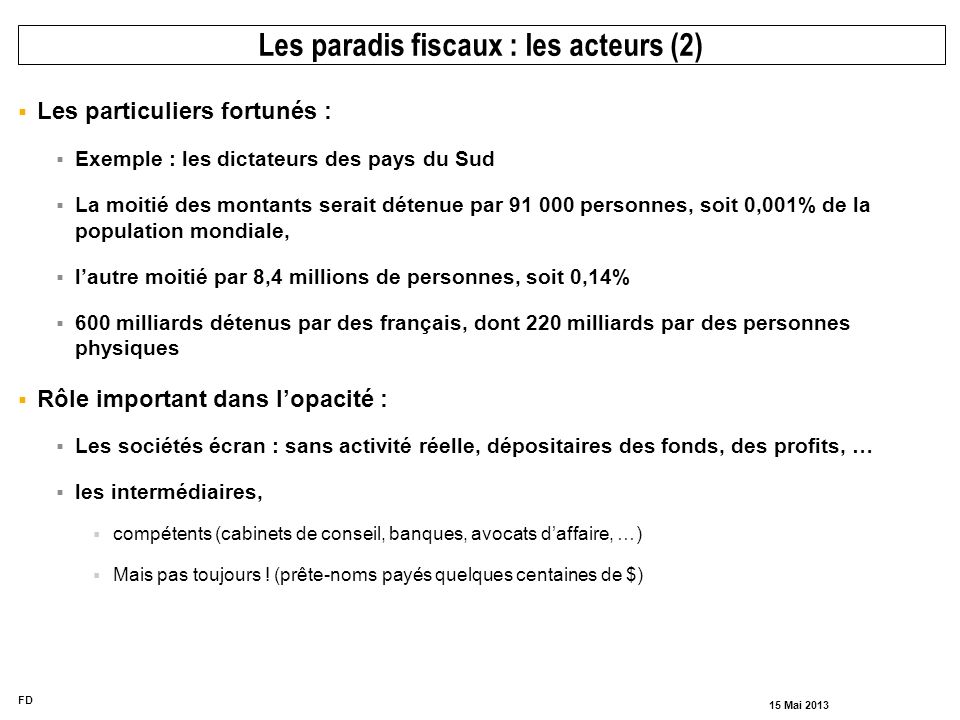 Les paradis fiscaux : les acteurs (2)
