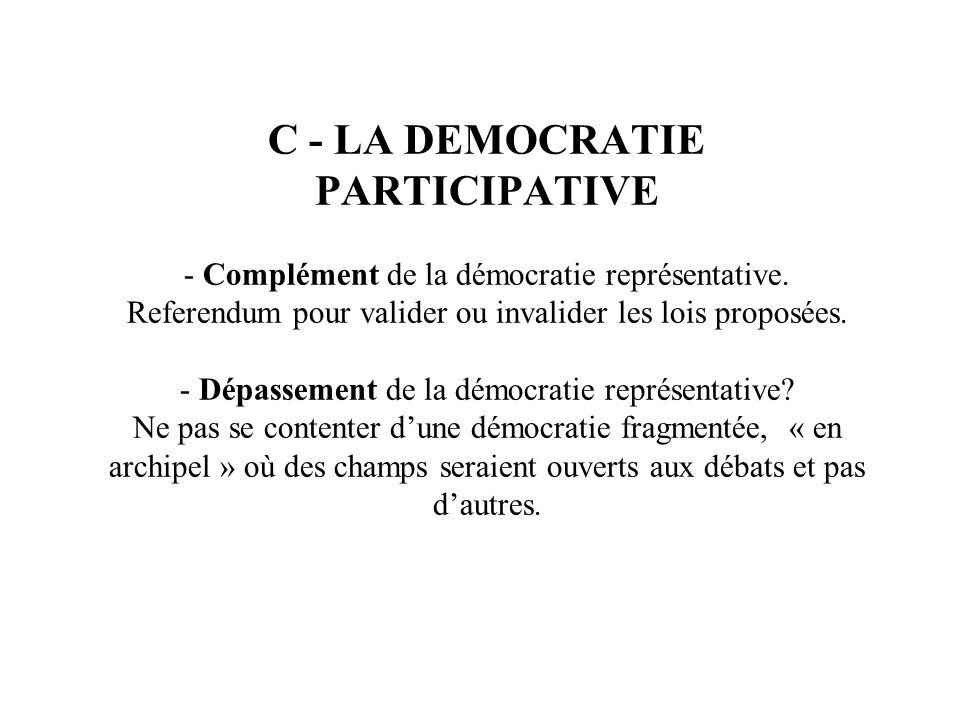 C - LA DEMOCRATIE PARTICIPATIVE - Complément de la démocratie représentative.