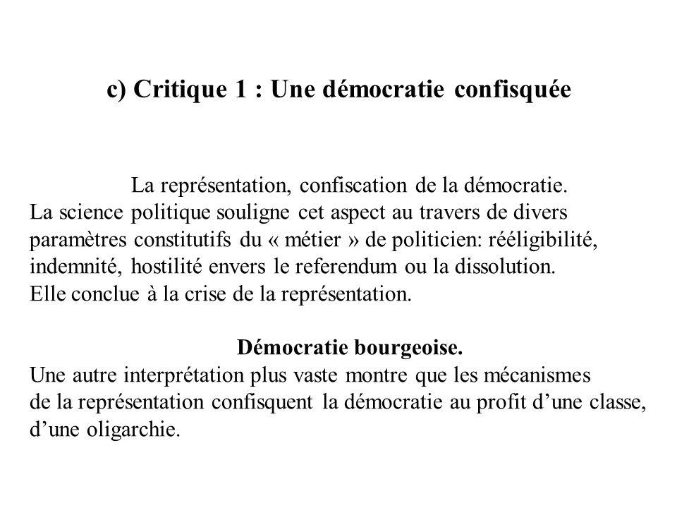 c) Critique 1 : Une démocratie confisquée