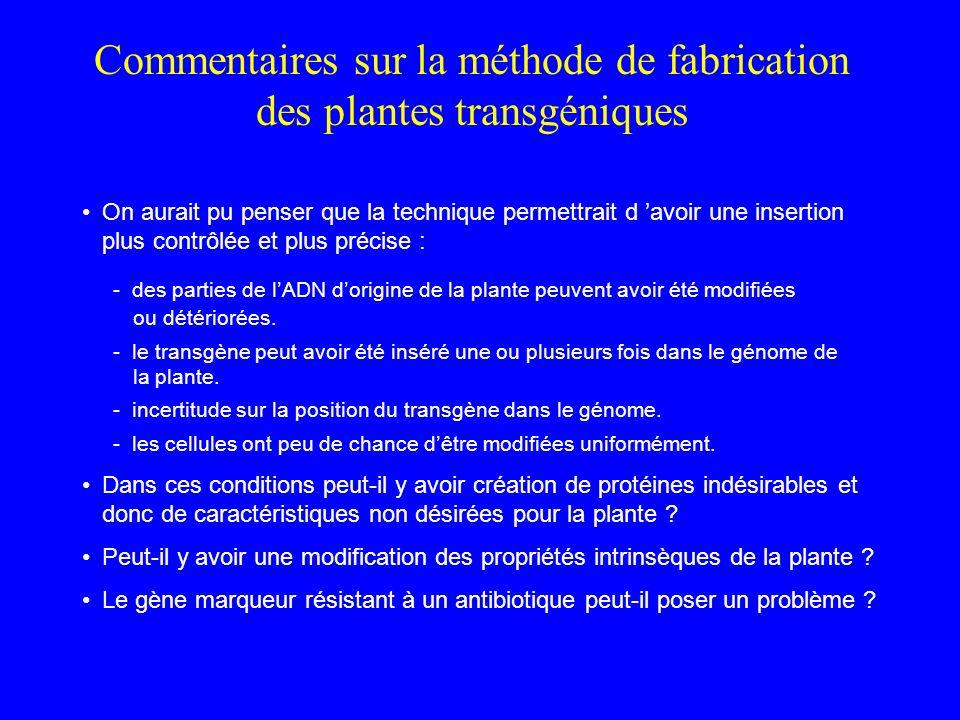 Commentaires sur la méthode de fabrication des plantes transgéniques