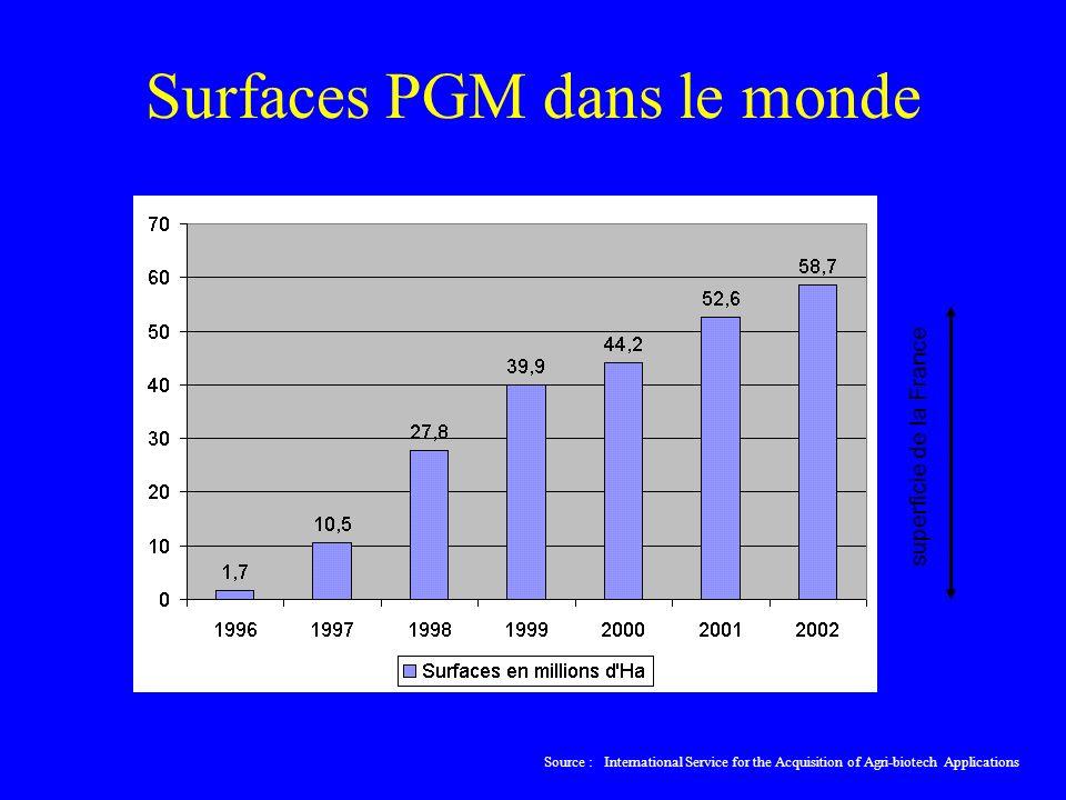 Surfaces PGM dans le monde