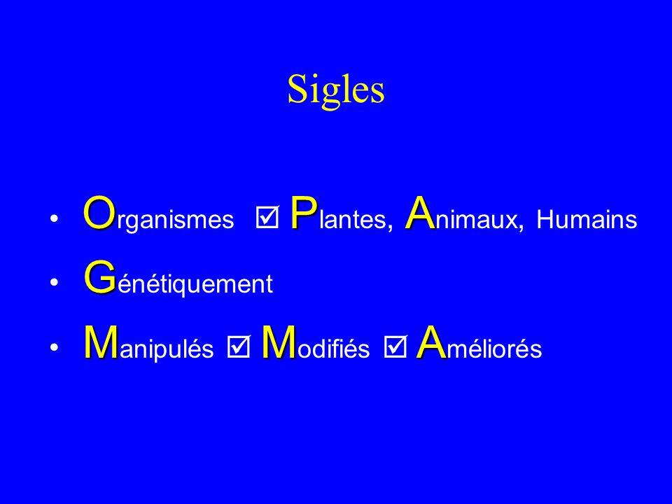 Sigles Organismes  Plantes, Animaux, Humains Génétiquement