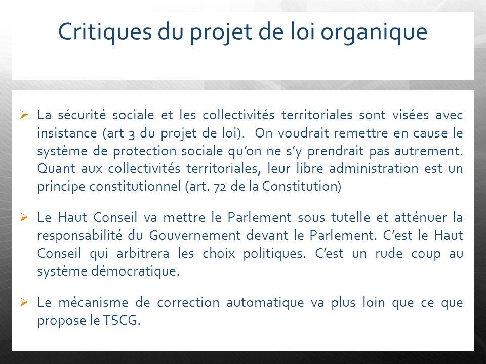 Critiques du projet de loi organique