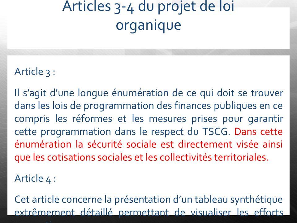 Articles 3-4 du projet de loi organique