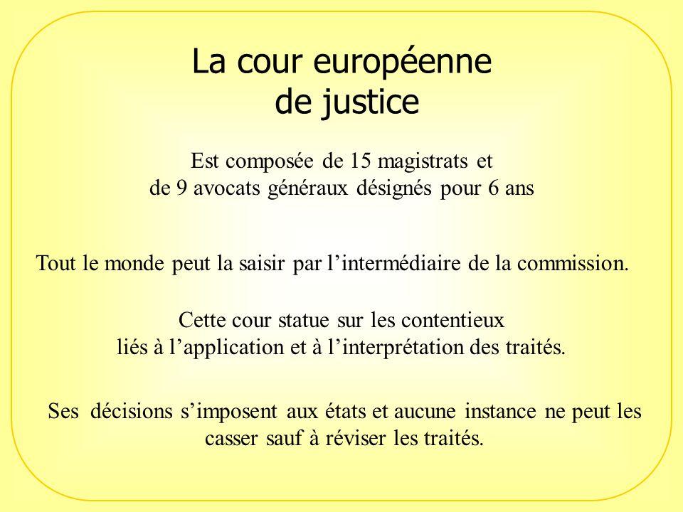 La cour européenne de justice Est composée de 15 magistrats et