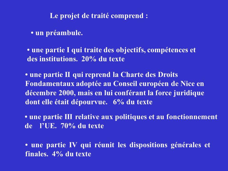 Le projet de traité comprend :