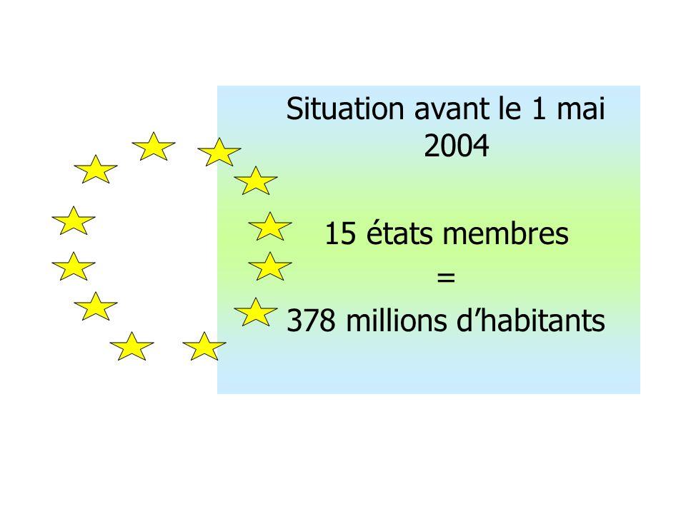 Situation avant le 1 mai 2004 15 états membres = 378 millions d'habitants