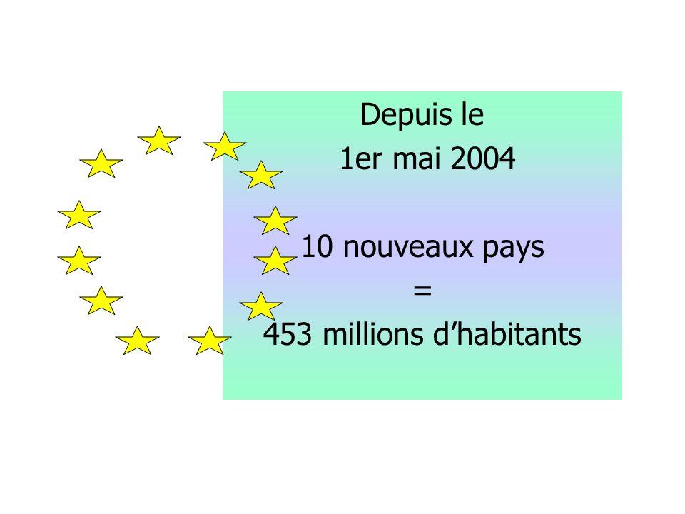 Depuis le 1er mai 2004 10 nouveaux pays = 453 millions d'habitants