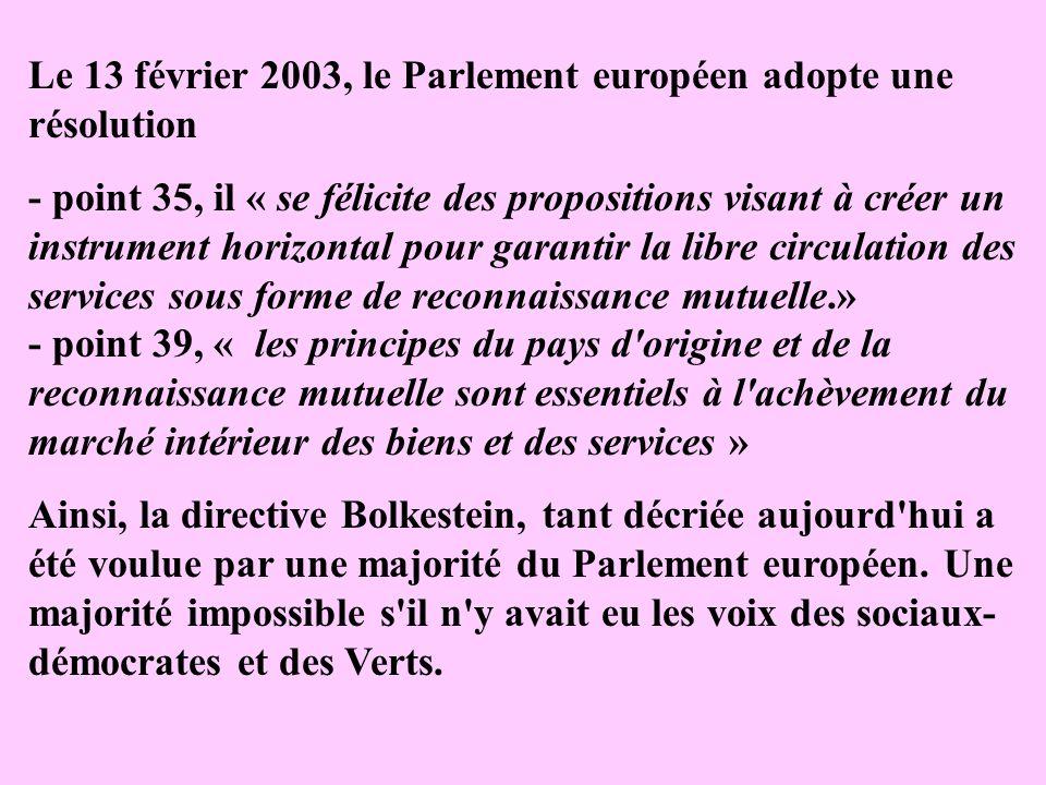 Le 13 février 2003, le Parlement européen adopte une résolution
