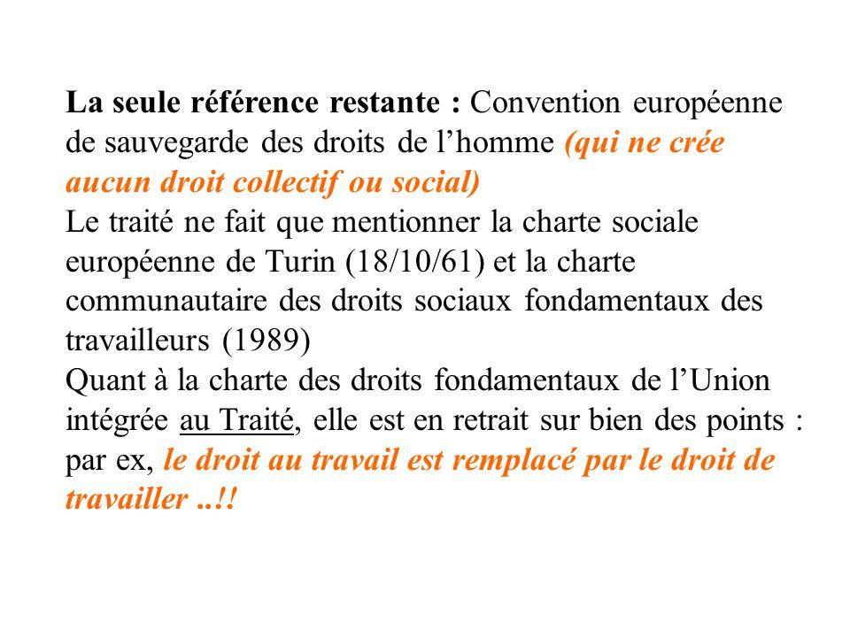 La seule référence restante : Convention européenne de sauvegarde des droits de l'homme (qui ne crée aucun droit collectif ou social)