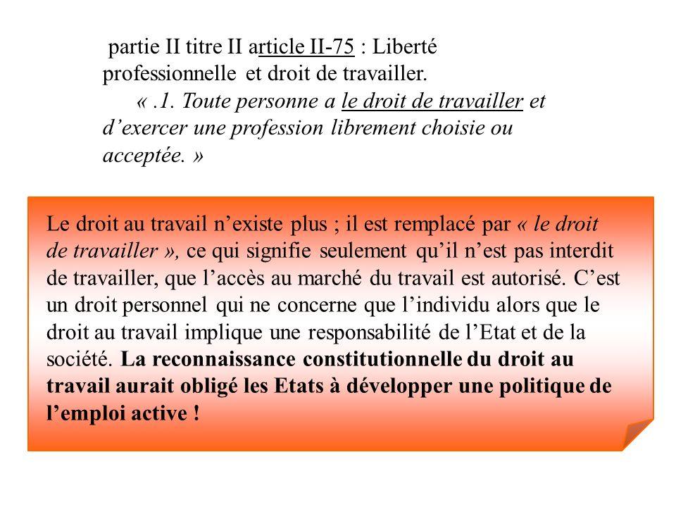 partie II titre II article II-75 : Liberté professionnelle et droit de travailler.